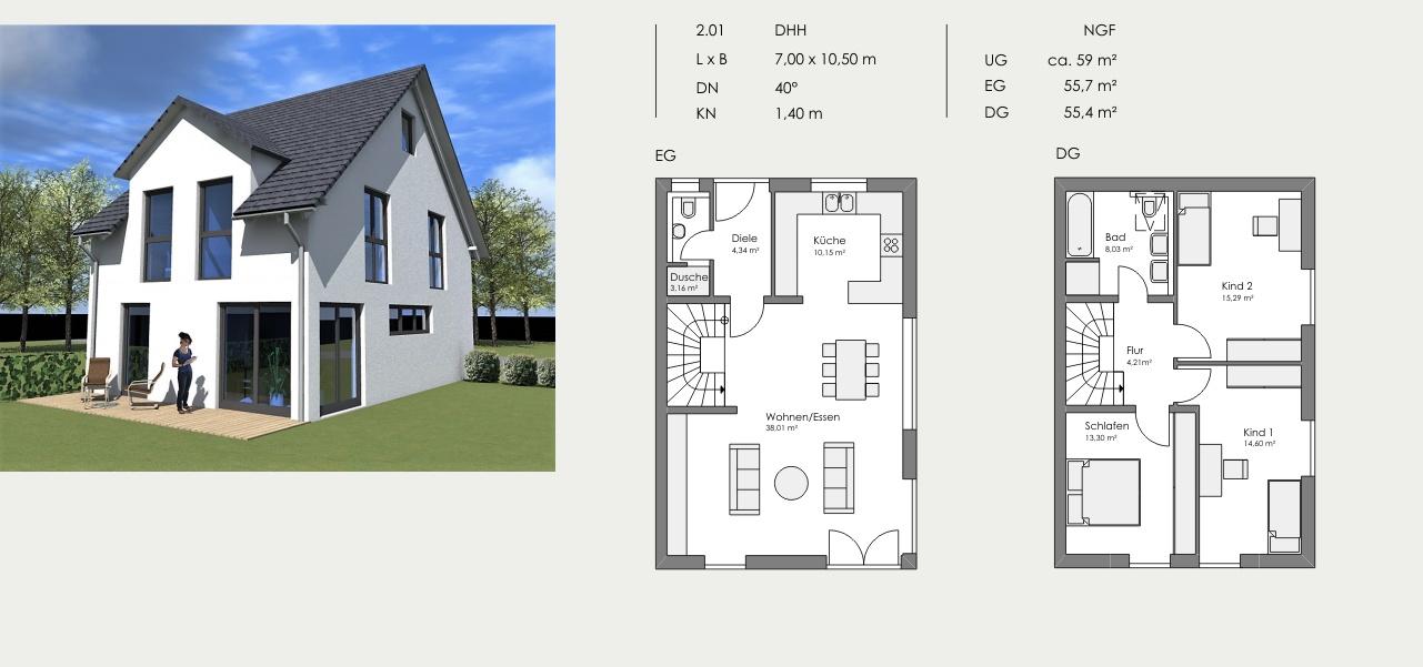 Doppelhaushälfte, Länge: 7,00m, Breite: 10,50m, Dachneigung: 40°, Kniestock: 1,4m, UG: ca. 59m², EG: 55,7m², DG: 55,4m²