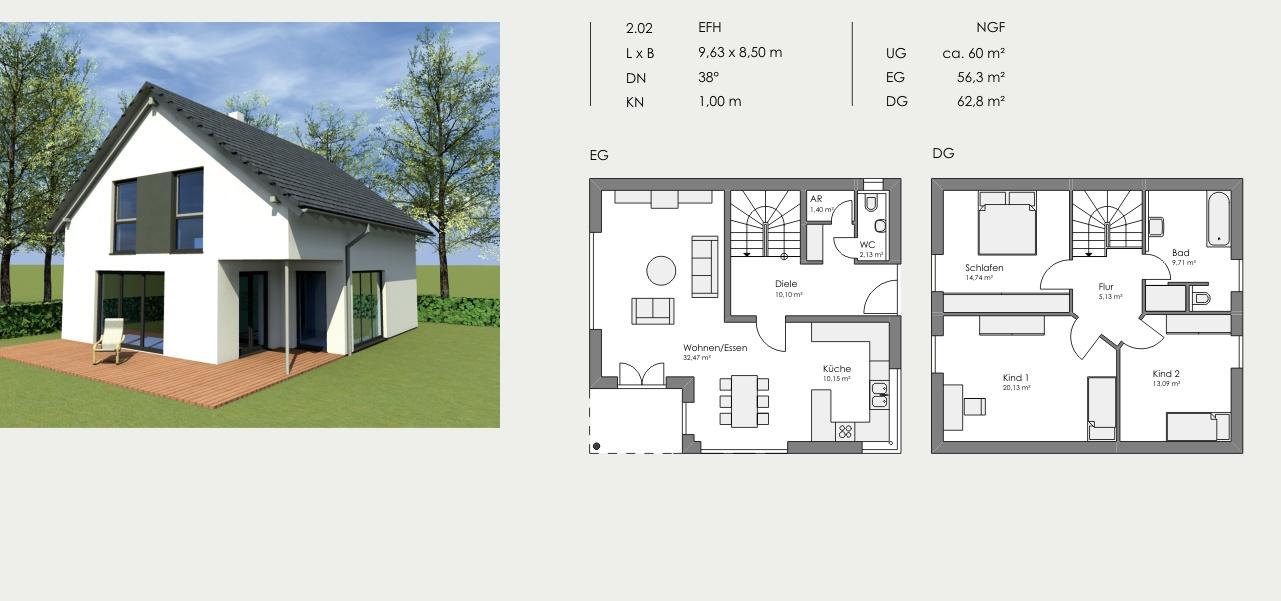 Einfamilienhaus, Länge: 9,63m, Breite: 8,50m, Dachneigung: 38°, Kniestock: 1,00m, UG: ca. 60m², EG: 56,30m², DG: 62,8m²