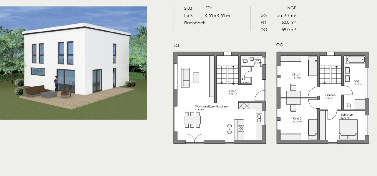 Einfamilienhaus, Länge: 9,00m, Breite: 9,00m, Flachdach, 2 Vollgeschosse, UG: ca. 60m², EG: 60,0m², DG: 59,0m²