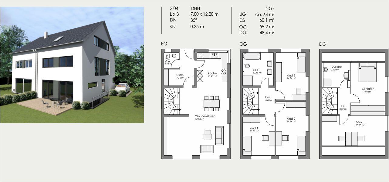 Doppelhaushälfte, Länge: 7,00m, Breite: 12,20m, Dachneigung: 35°, Kniestock: 0,35m, UG: ca. 64m², EG: 60,1m², DG: 48,4m²