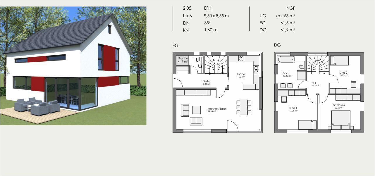 Einfamilienhaus, Länge: 9,50m, Breite: 8,55m, Dachneigung: 35°, Kniestock: 1,60m, UG: ca. 66m², EG: 61,5m², DG: 61,9m²