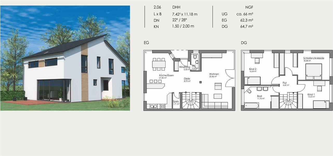 Doppelhaushälfte, Länge: 7,425m, Breite: 11,18m, Dachneigung: 22°/28°, Kniestock: 1,50m/2,00m, UG: ca. 66m², EG: 62,3m², DG: 64,7m²