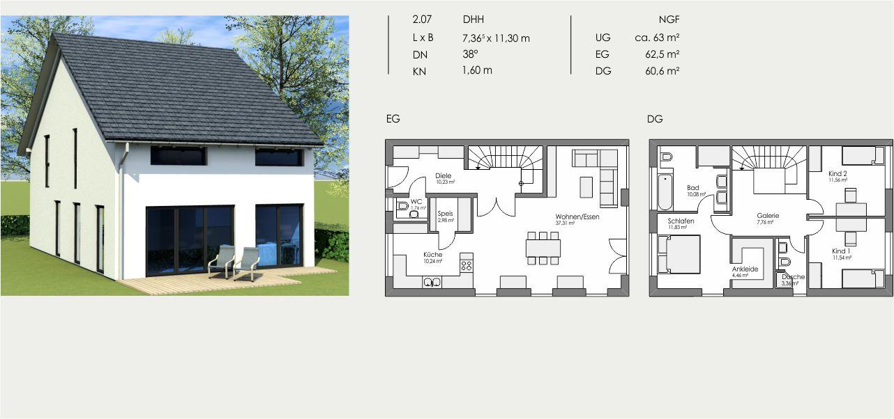 Doppelhaushälfte, Länge: 7,365m, Breite: 11,30m, Dachneigung: 38°, Kniestock: 1,60m, UG: ca. 63m², EG: 62,5m², DG: 60,6m²