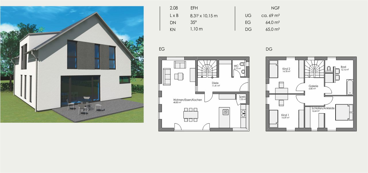 Einfamilienhaus, Länge: 8,315m, Breite: 10,15m, Dachneigung: 35°, Kniestock: 1,10m, UG: ca. 69m², EG: 64m², DG: 65m²