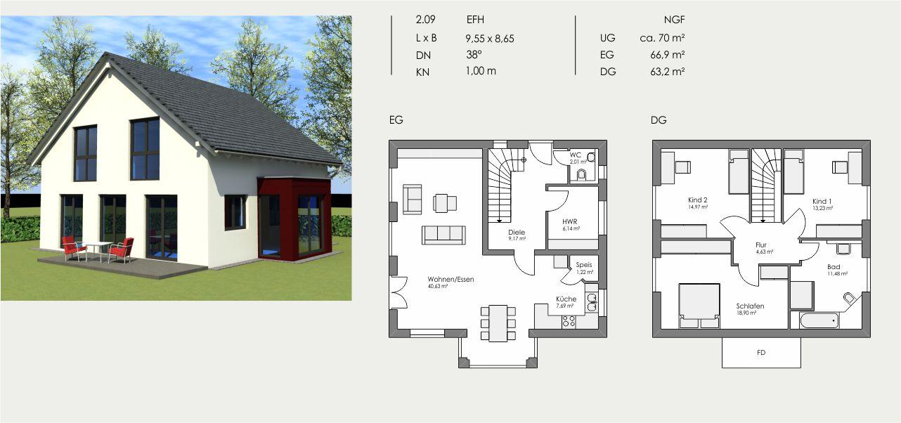 Einfamilienhaus, Länge: 9,55m, Breite: 8,65m, Dachneigung: 38°, Kniestock: 1,00m, UG: ca. 70m², EG: 66,9m², DG: 63,2m²