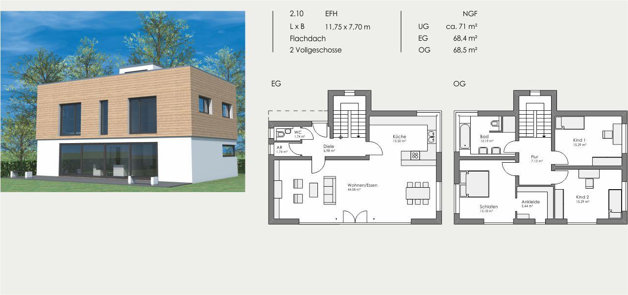 Einfamilienhaus, Länge: 11,75m, Breite: 7,70m, Flachdach, 2 Vollgeschosse, UG: ca. 71m², EG: 68,4m², OG: 68,5m²