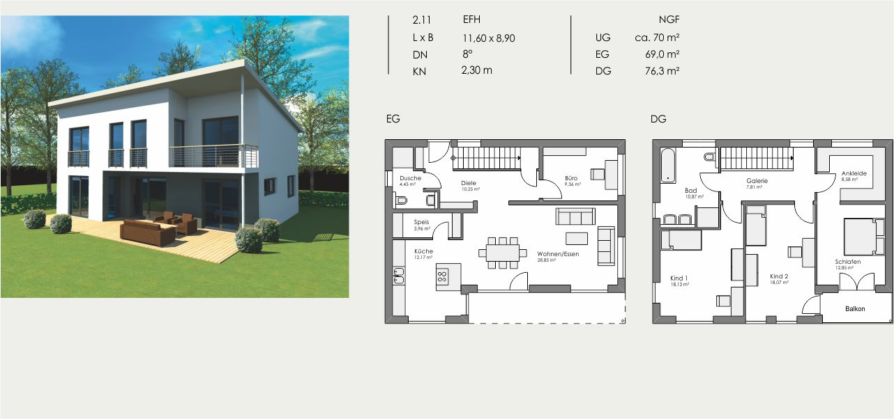 Einfamilienhaus, Länge: 11,60m, Breite: 8,90m, Dachneigung: 8°, Kniestock: 2,30m, UG: ca. 70m², EG: 69,0m², DG: 76,3m²