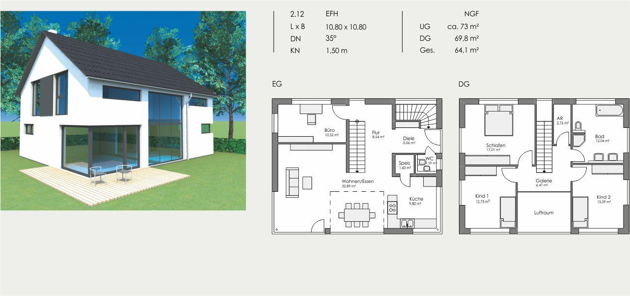 Einfamilienhaus, Länge: 10,80m, Breite: 10,80m, Dachneigung: 35°, Kniestock: 1,50m, UG: ca. 73m², EG: 69,8m², DG: 64,1m²