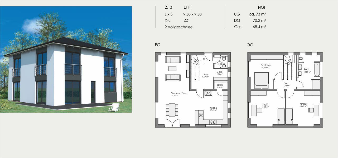 Einfamilienhaus, Länge: 9,50m, Breite: 9,50m, Dachneigung: 22°, Kniestock: m, UG: ca. 73m², EG: 70,2m², DG: 68,4m²