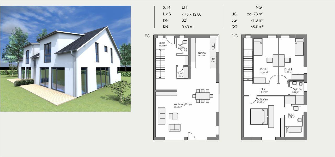 Einfamilienhaus, Länge: 7,45m, Breite: 12,00m, Dachneigung: 32°, Kniestock: 0,6m, UG: ca. 73m², EG: 71,3m², DG: 68,9m²