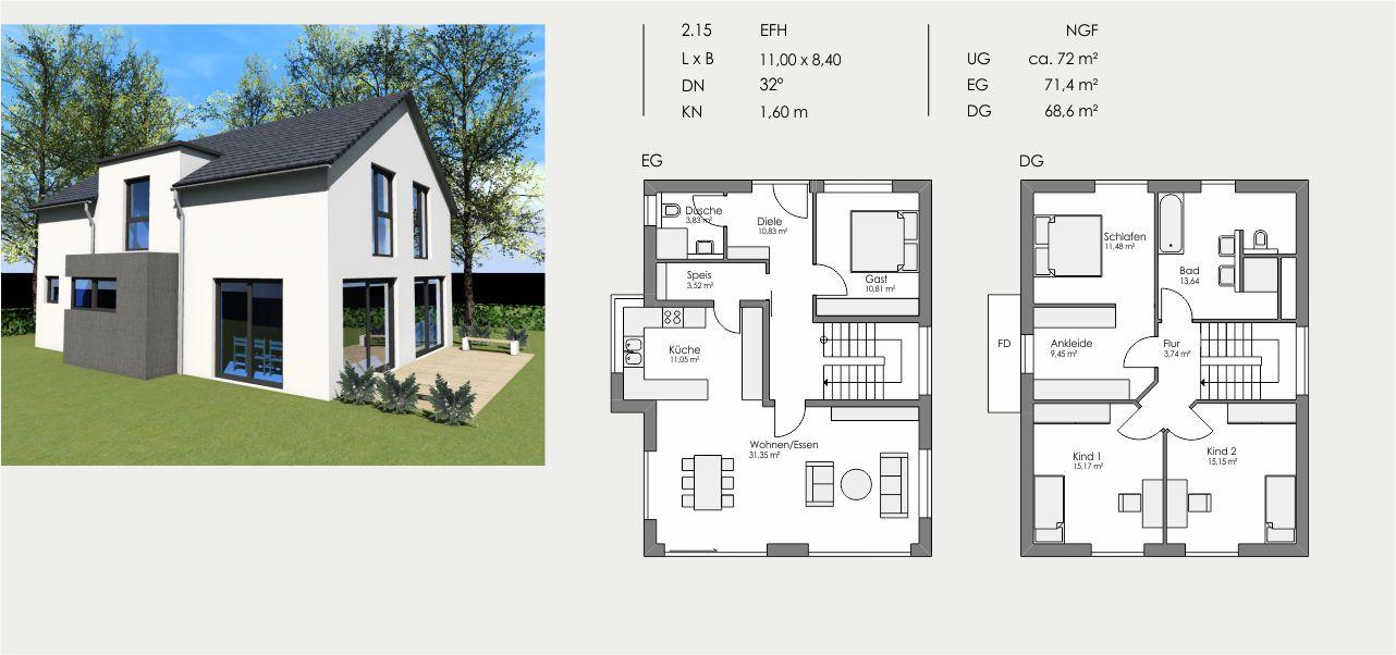 Einfamilienhaus, Länge: 11,00m, Breite: 8,40m, Dachneigung: 32°, Kniestock: 1,60m, UG: ca. 72m², EG: 71,4m², DG: 68,6m²