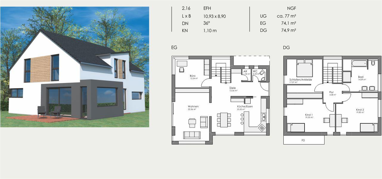 Einfamilienhaus, Länge: 10,93m, Breite: 8,90m, Dachneigung: 36°, Kniestock: 1,10m, UG: ca. 77m², EG: 74,1m², DG: 74,9m²