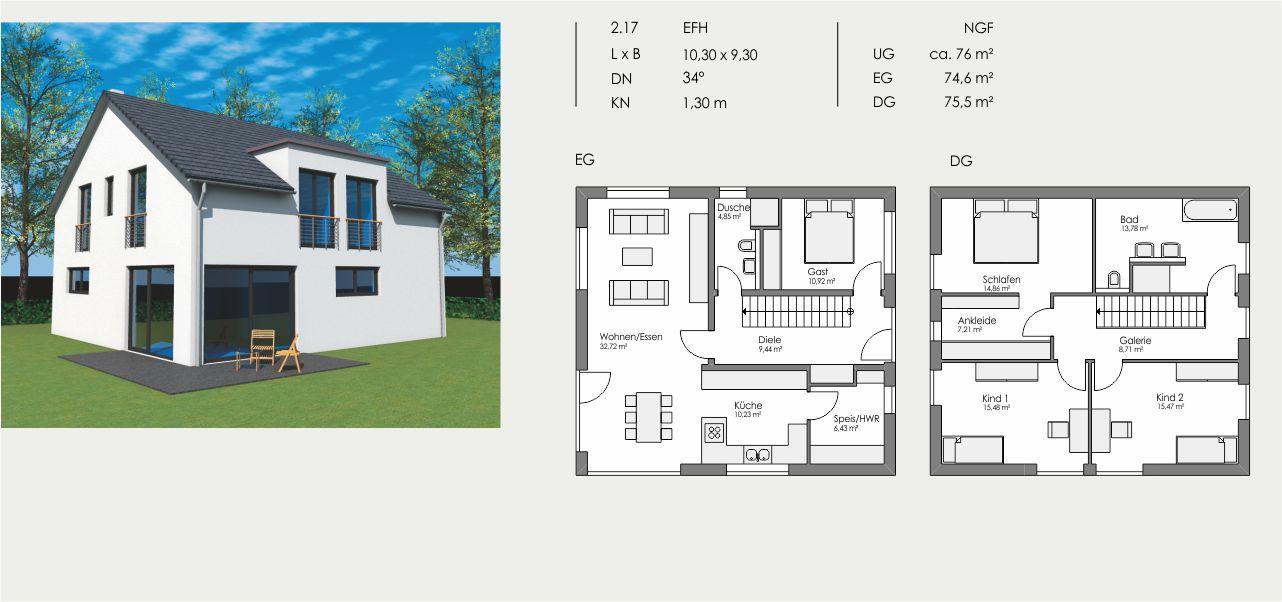 Einfamilienhaus, Länge: 10,30m, Breite: 9,30m, Dachneigung: 34°, Kniestock: 1,30m, UG: ca. 76m², EG: 74,6m², DG: 75,5m²