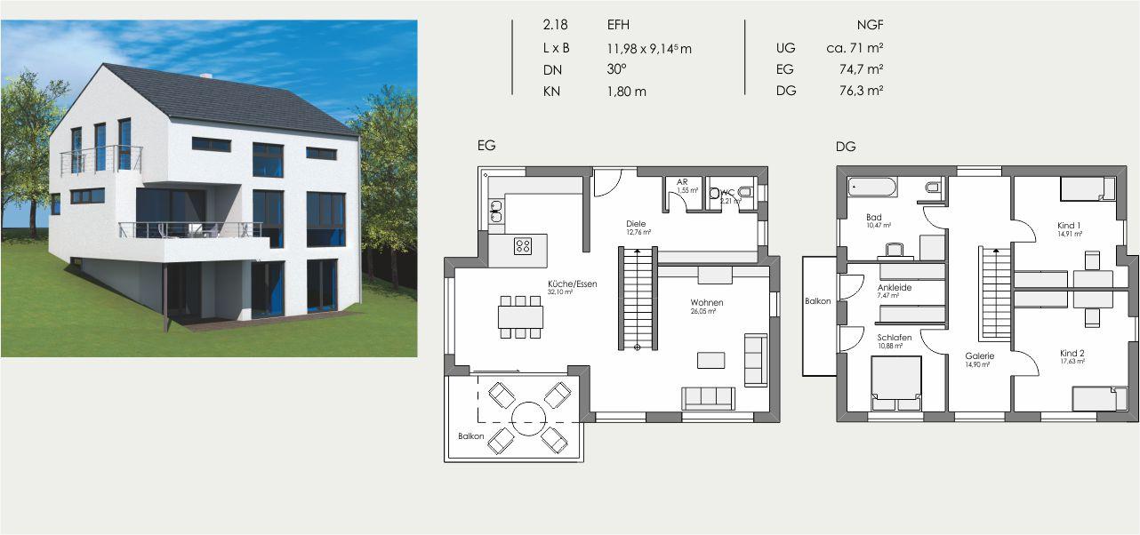 Einfamilienhaus, Länge: 11,98m, Breite: 9,145m, Dachneigung: 30°, Kniestock: 1,80m, UG: ca. 71m², EG: 74,7m², DG: 76,3m²