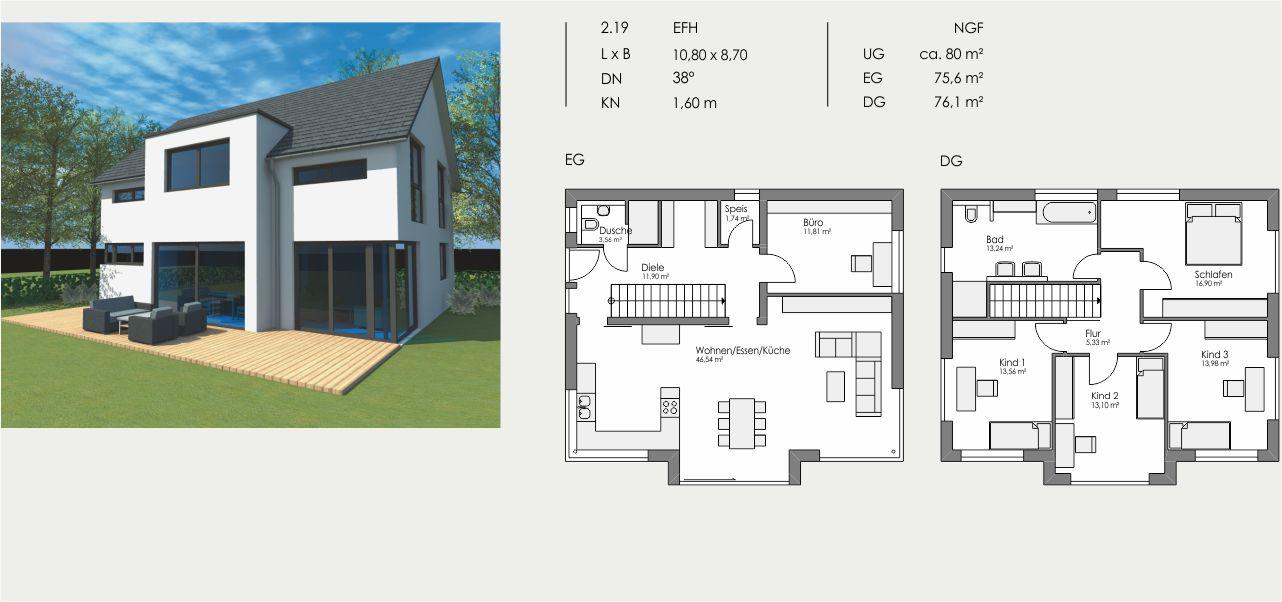 Einfamilienhaus, Länge: 10,80m, Breite: 8,70m, Dachneigung: 38°, Kniestock: 1,60m, UG: ca. 80m², EG: 75,6m², DG: 76,1m²