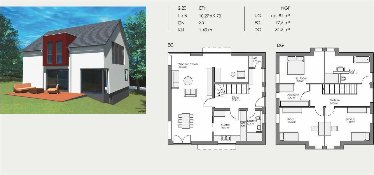 Einfamilienhaus, Länge: 10,27m, Breite: 9,70m, Dachneigung: 35°, Kniestock: 1,40m, UG: ca. 81m², EG: 77,5m², DG: 81,5m²