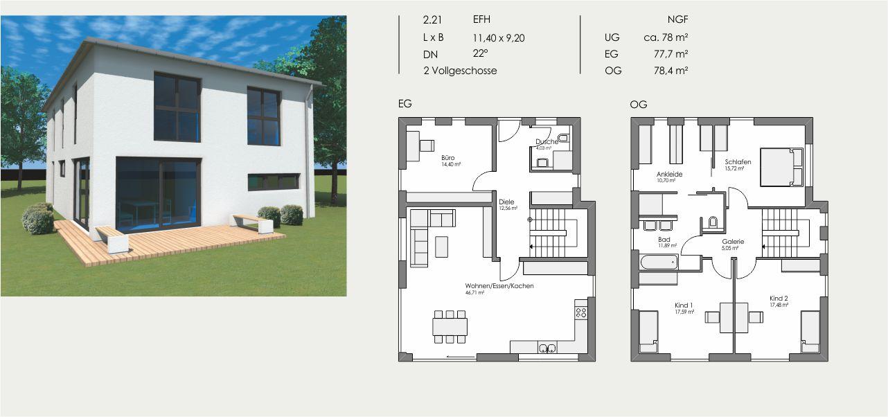 Einfamilienhaus, Länge: 11,40m, Breite: 9,20m, Dachneigung: 22°, Kniestock: m, UG: ca. 78m², EG: 77,7m², OG: 78,4m²