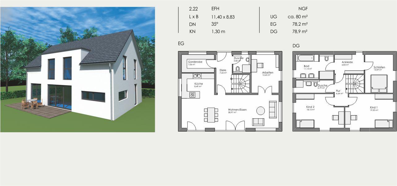 Einfamilienhaus, Länge: 11,40m, Breite: 8,83m, Dachneigung: 35°, Kniestock: 1,30m, UG: ca. 80m², EG: 78,2m², DG: 78,9m²