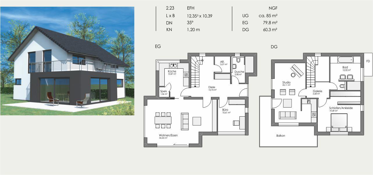 Einfamilienhaus, Länge: 12,355m, Breite: 10,39m, Dachneigung: 35°, Kniestock: 1,20m, UG: ca. 85m², EG: 79,8m², DG: 60,3m²