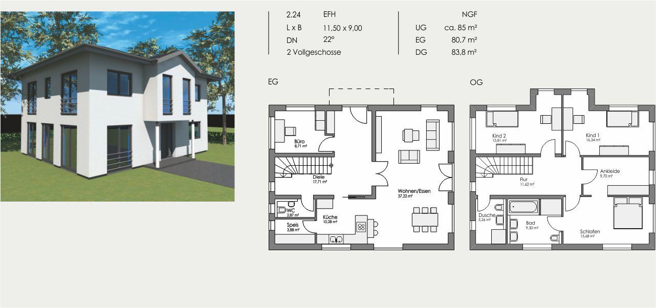 Einfamilienhaus, Länge: 11,50m, Breite: 9,00m, Dachneigung: 22°, Kniestock: m, UG: ca. 85m², EG: 80,7m², DG: 83,8m²
