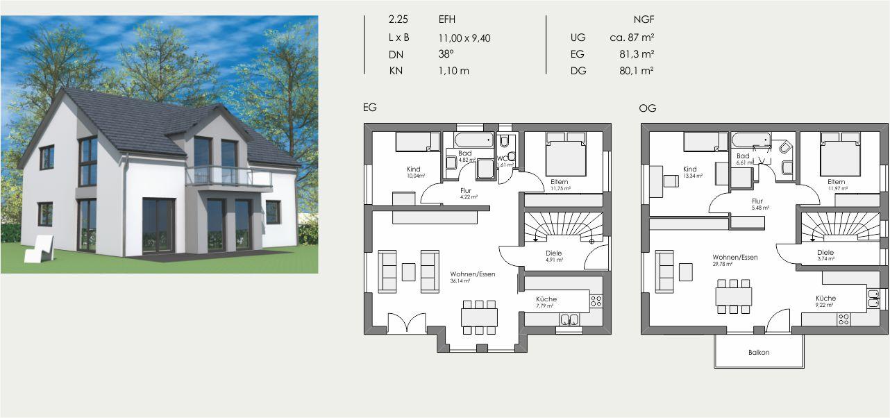Einfamilienhaus, Länge: 11,00m, Breite: 9,40m, Dachneigung: 38°, Kniestock: 1,10m, UG: ca. 87m², EG: 81,3m², DG: 80,1m²