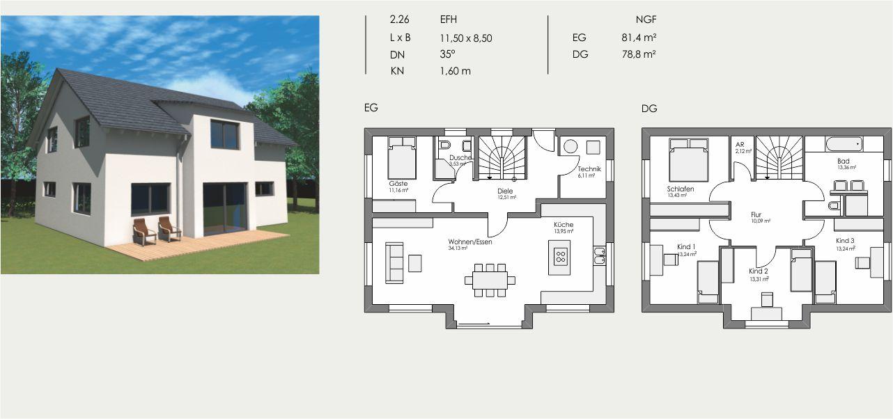 Einfamilienhaus, Länge: 11,50m, Breite: 8,50m, Dachneigung: 35°, Kniestock: 1,60m, UG: ca. m², EG: 81,4m², DG: 78,8m²