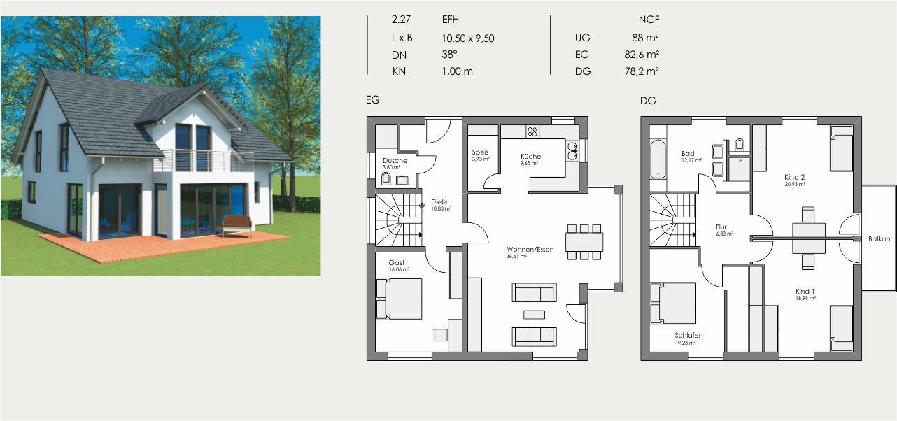Einfamilienhaus, Länge: 10,50m, Breite: 9,50m, Dachneigung: 38°, Kniestock: 1,00m, UG: ca. 88m², EG: 82,6m², DG: 78,2m²