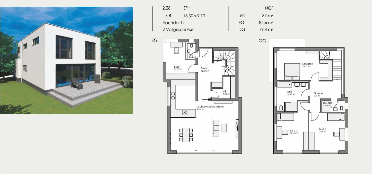 Einfamilienhaus, Länge: 13,30m, Breite: 9,10m, Flachdach, 2 Vollgeschosse, UG: ca. 87m², EG: 84,6m², DG: 79,4m²