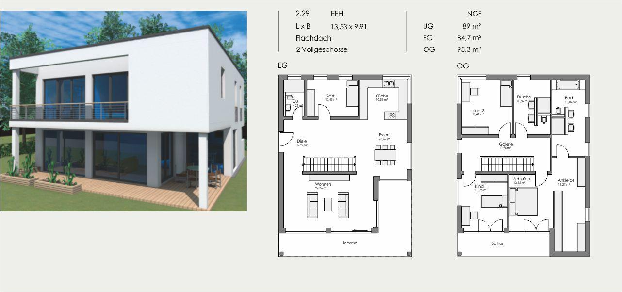 Einfamilienhaus, Länge: 13,53m, Breite: 9,91m, Flachdach, 2 Vollgeschosse, UG: ca. 89m², EG: 84,7m², OG: 95,3m²