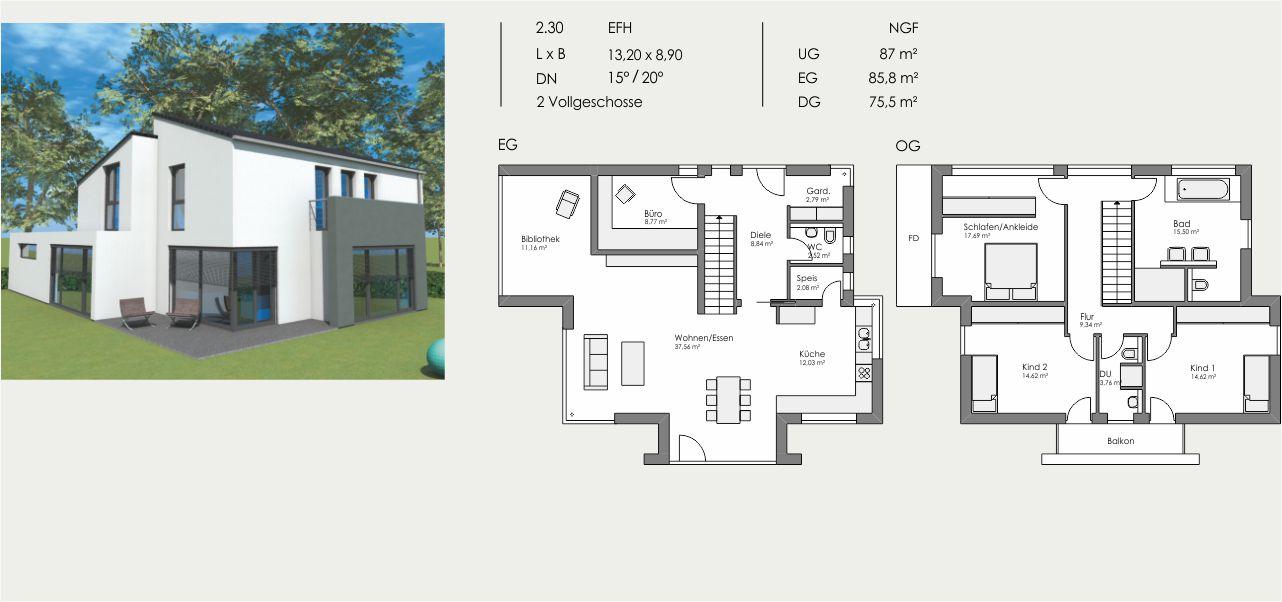 Einfamilienhaus, Länge: 13,20m, Breite: 8,90m, Dachneigung: 15°/20°, Kniestock: m, UG: ca. 87m², EG: 85,8m², DG: 75,5m²