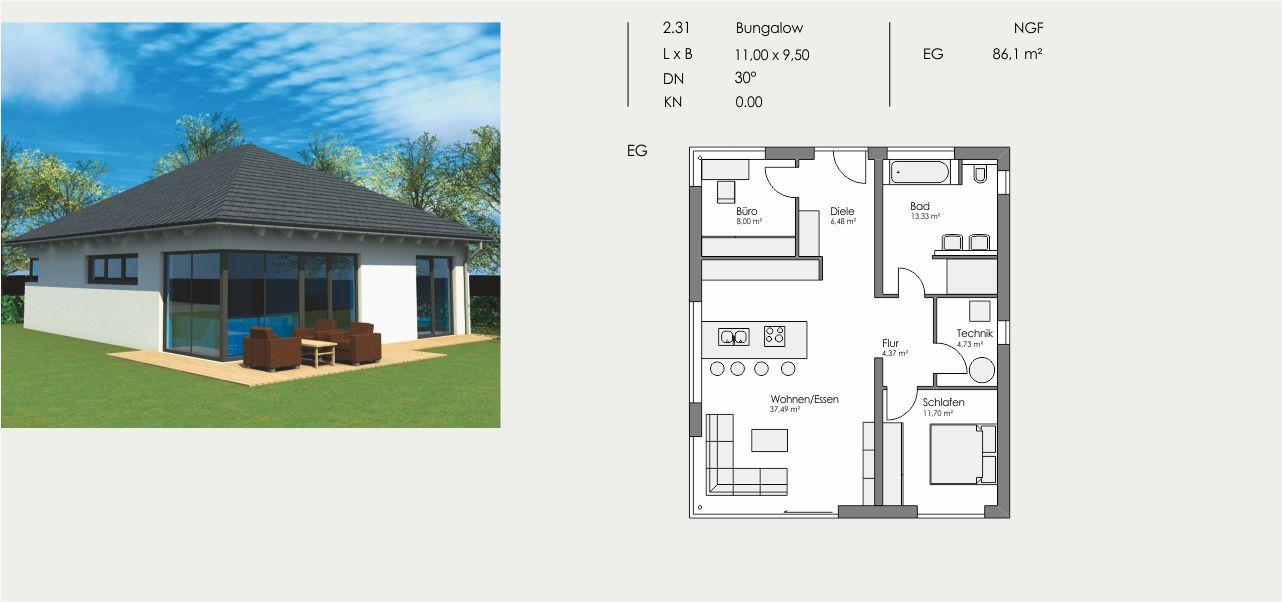 Bungalow, Länge: 11,00m, Breite: 9,50m, Dachneigung: 30°, Kniestock: 0m, UG: ca. m², EG: 86,1m², DG: m²