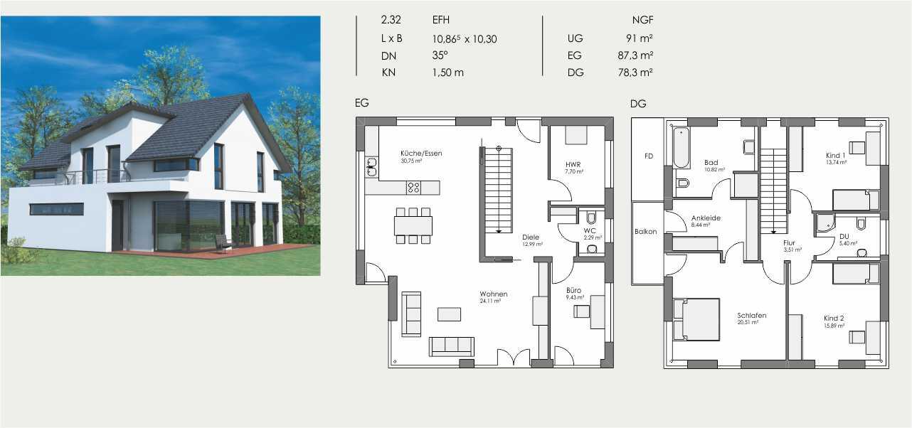 Einfamilienhaus, Länge: 10,865m, Breite: 10,30m, Dachneigung: 35°, Kniestock: 1,50m, UG: ca. 91m², EG: 87,3m², DG: 78,3m²