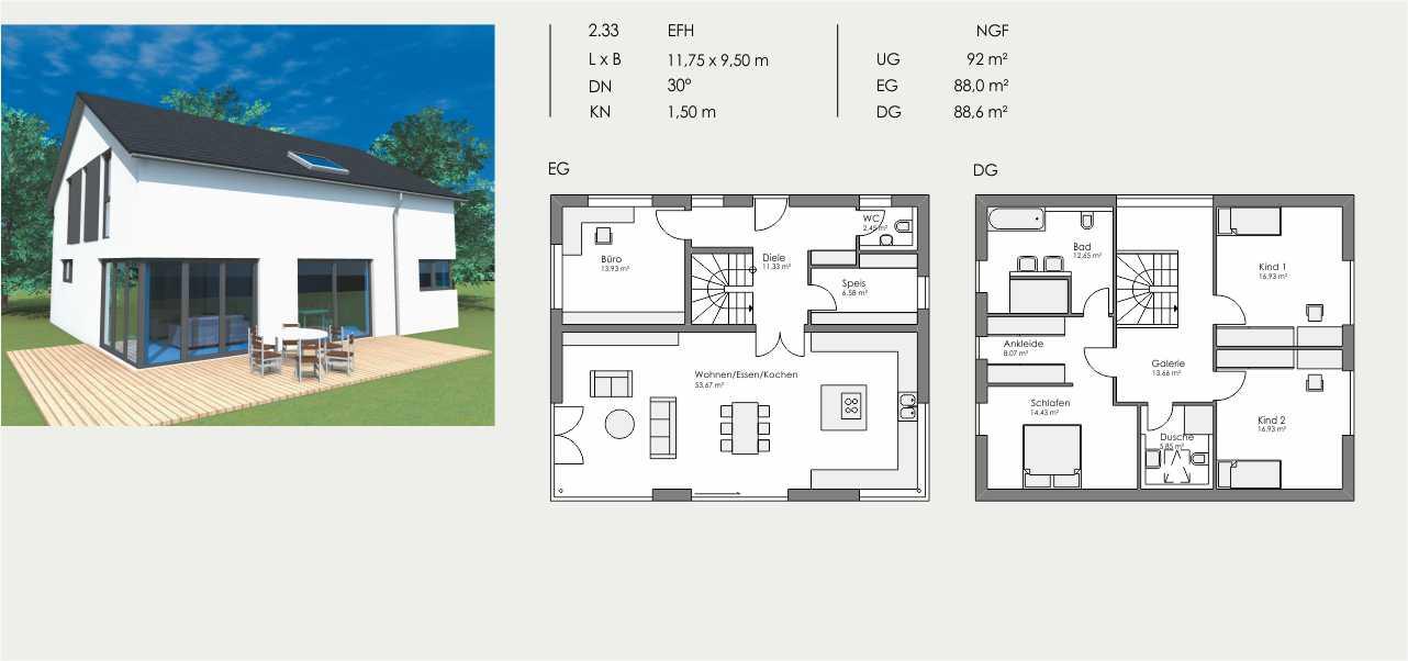 Einfamilienhaus, Länge: 11,75m, Breite: 9,50m, Dachneigung: 30°, Kniestock: 1,50m, UG: ca. 92m², EG: 88,0m², DG: 88,6m²