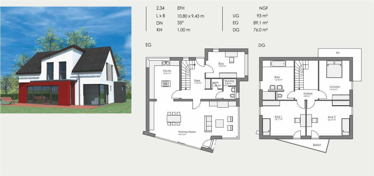 Einfamilienhaus, Länge: 10,80m, Breite: 9,43m, Dachneigung: 35°, Kniestock: 1,00m, UG: ca. 93m², EG: 89,1m², DG: 76,0m²