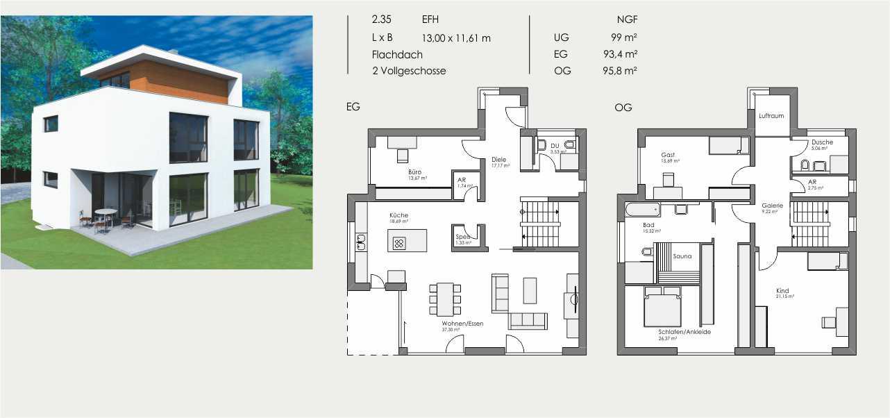 Einfamilienhaus, Länge: 13,00m, Breite: 11,61m, Flachdach, 2 Vollgeschosse und Dachterrasse, UG: ca. 99m², EG: 93,4m², OG: 95,8m²
