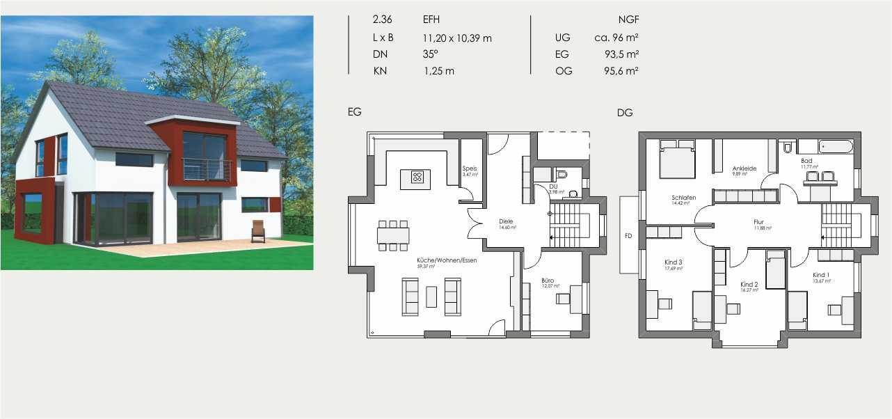 Einfamilienhaus, Länge: 11,20m, Breite: 10,39m, Dachneigung: 35°, Kniestock: 1,25m, UG: ca. 96m², EG: 93,5m², OG: 95,6m²
