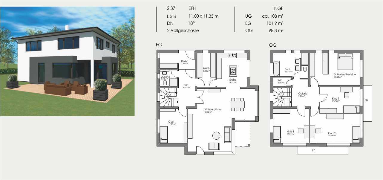 Einfamilienhaus, Länge: 11,00m, Breite: 11,35m, Dachneigung: 18°, Kniestock: m, UG: ca. 108m², EG: 101,9m², OG: 98,3m²