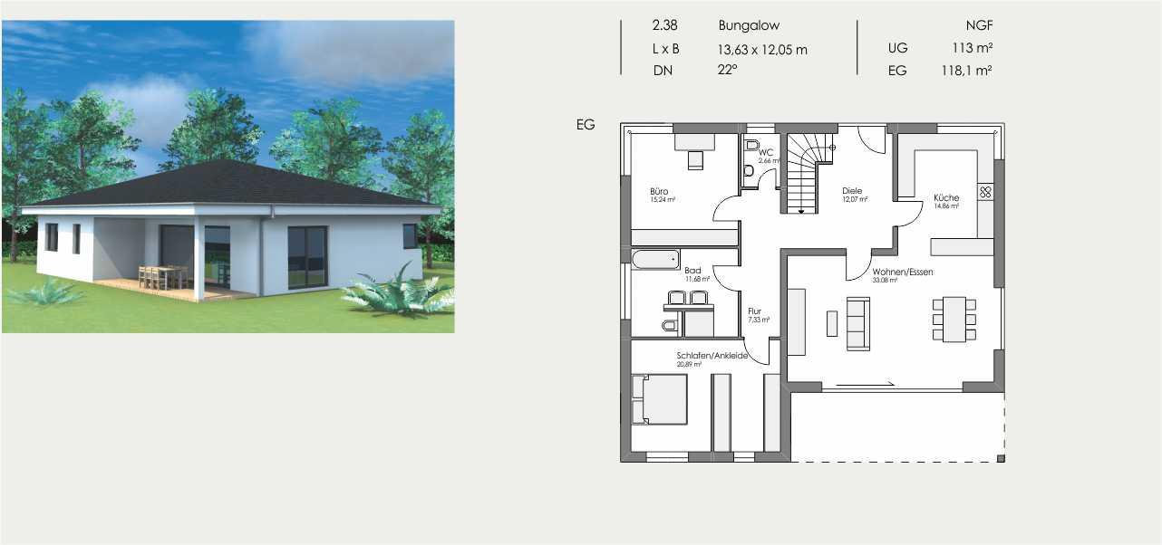 Bungalow, Länge: 13,63m, Breite: 12,05m, Dachneigung: 22°, Kniestock: m, UG: ca. 113m², EG: 118,1m², DG: m²